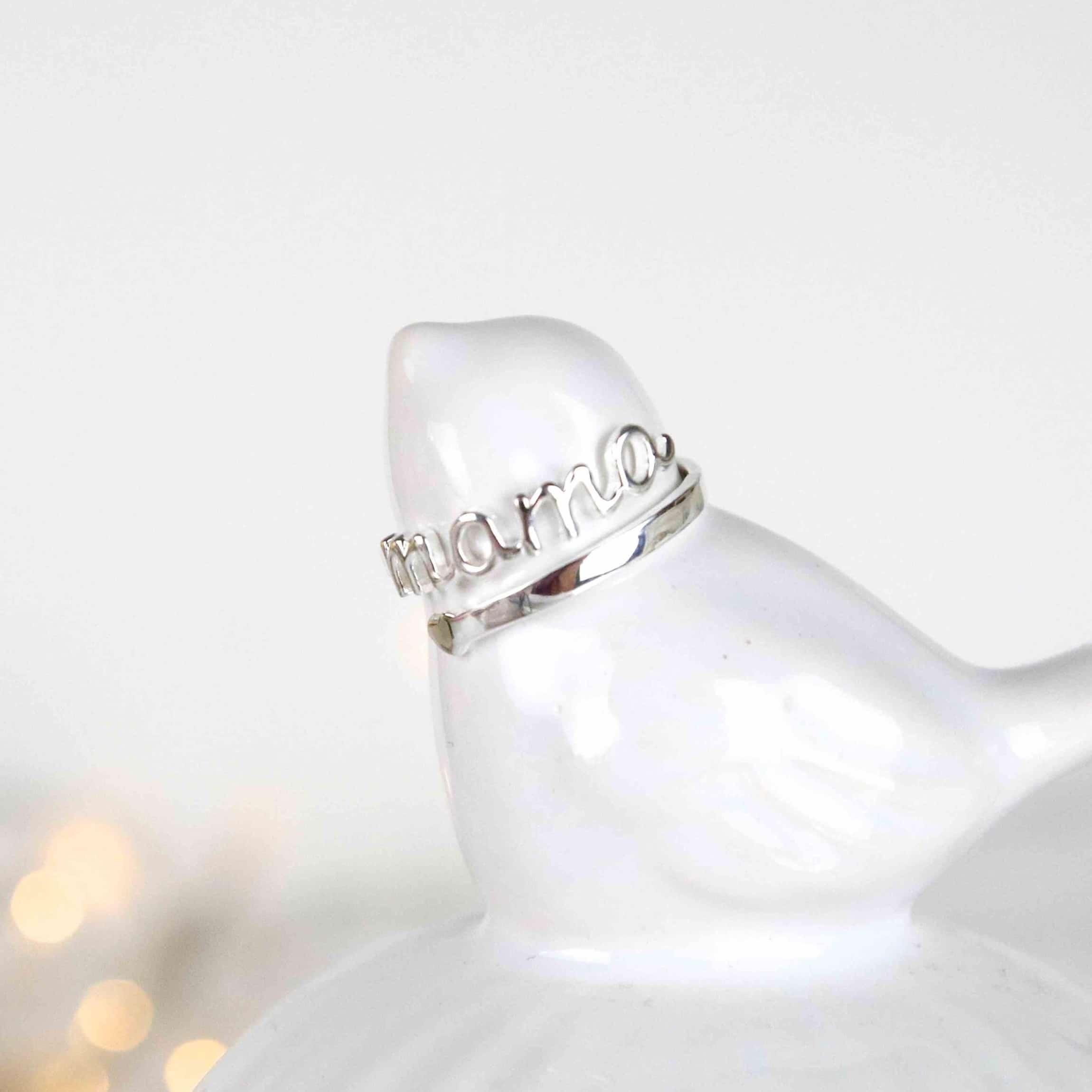 anillo de plata mamá ajustable