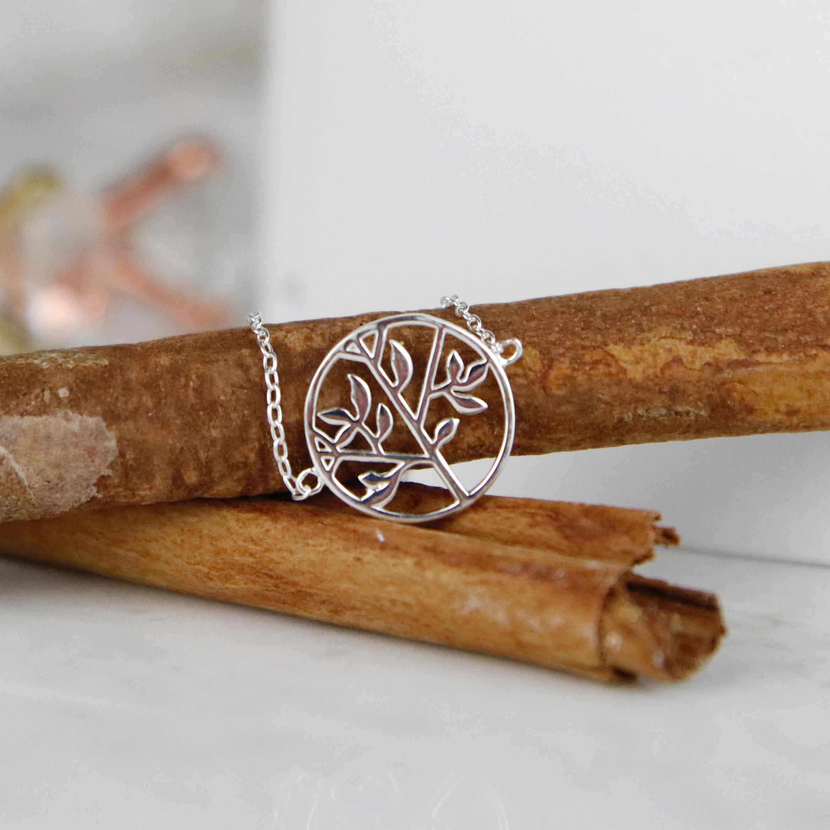 Pulsera árbol de la vida plata de ley