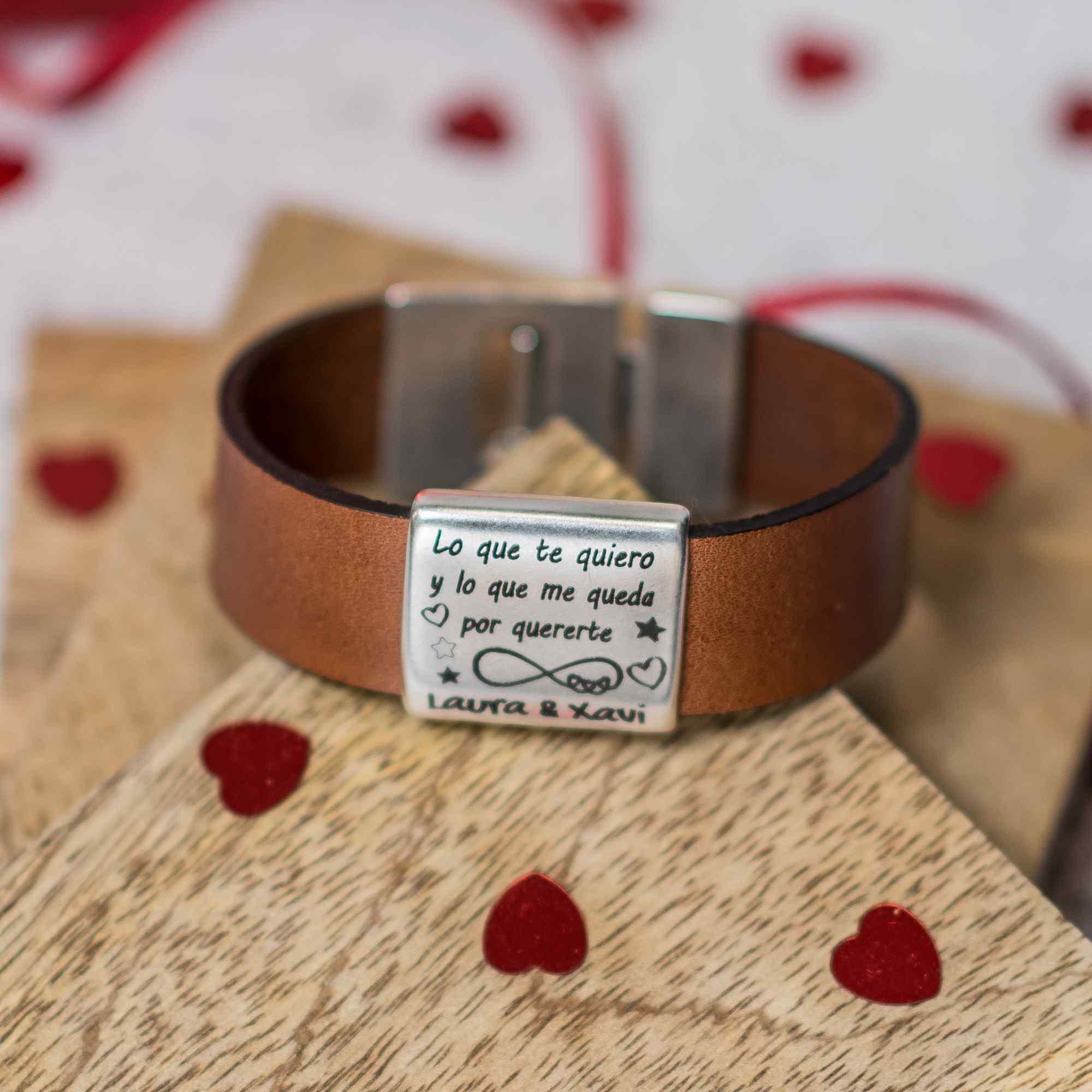 Pulsera personalizada de cuero San Valentin
