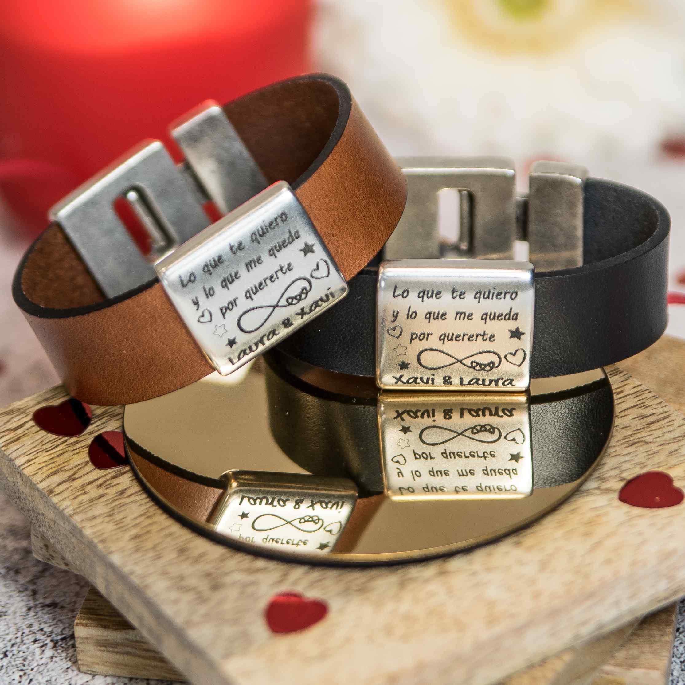 Conjunto pulseras de cuero San Valentin