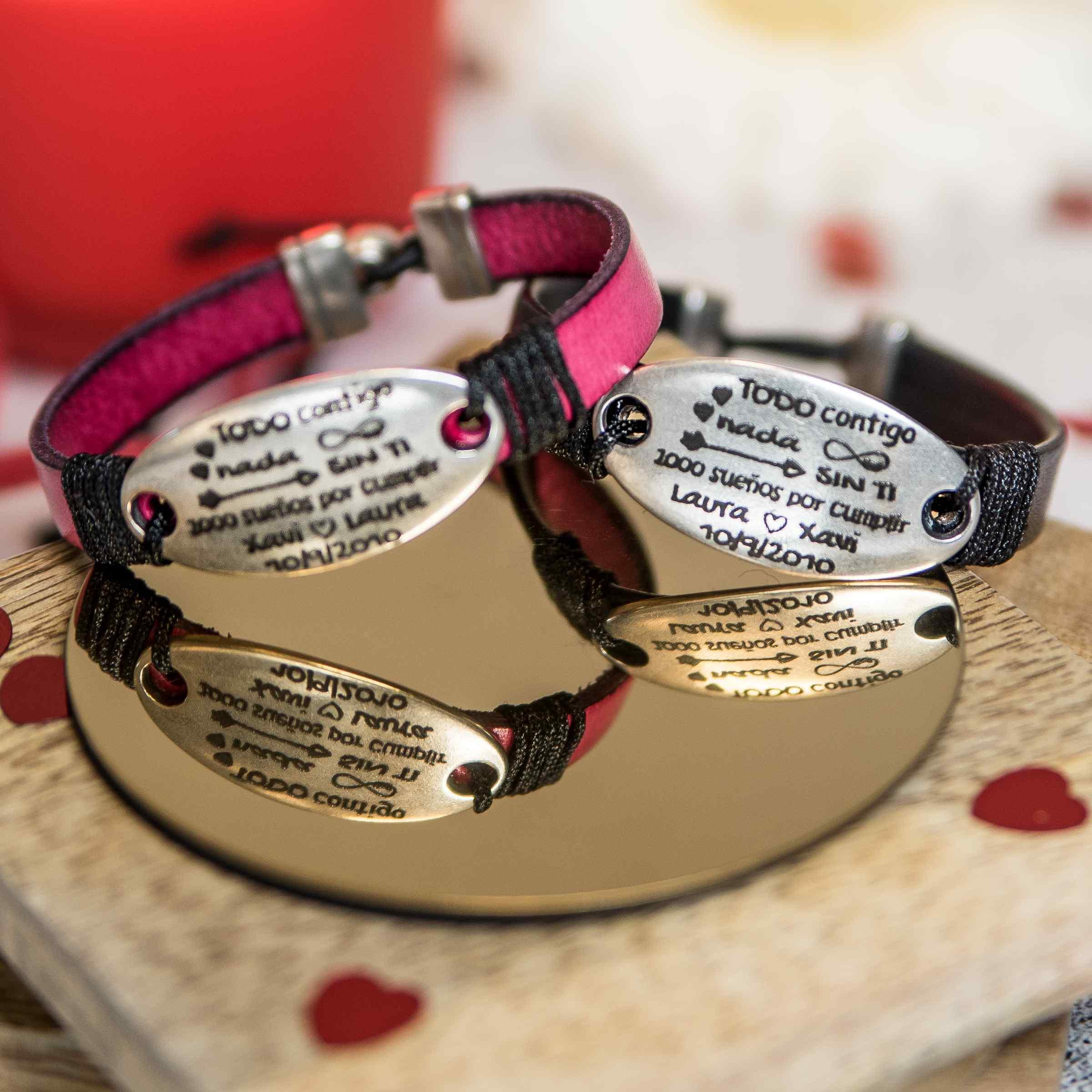 Conjunto pulseras de cuero pareja