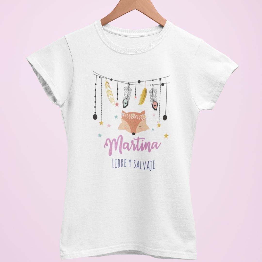 Camiseta personalizada libre y salvaje blanca