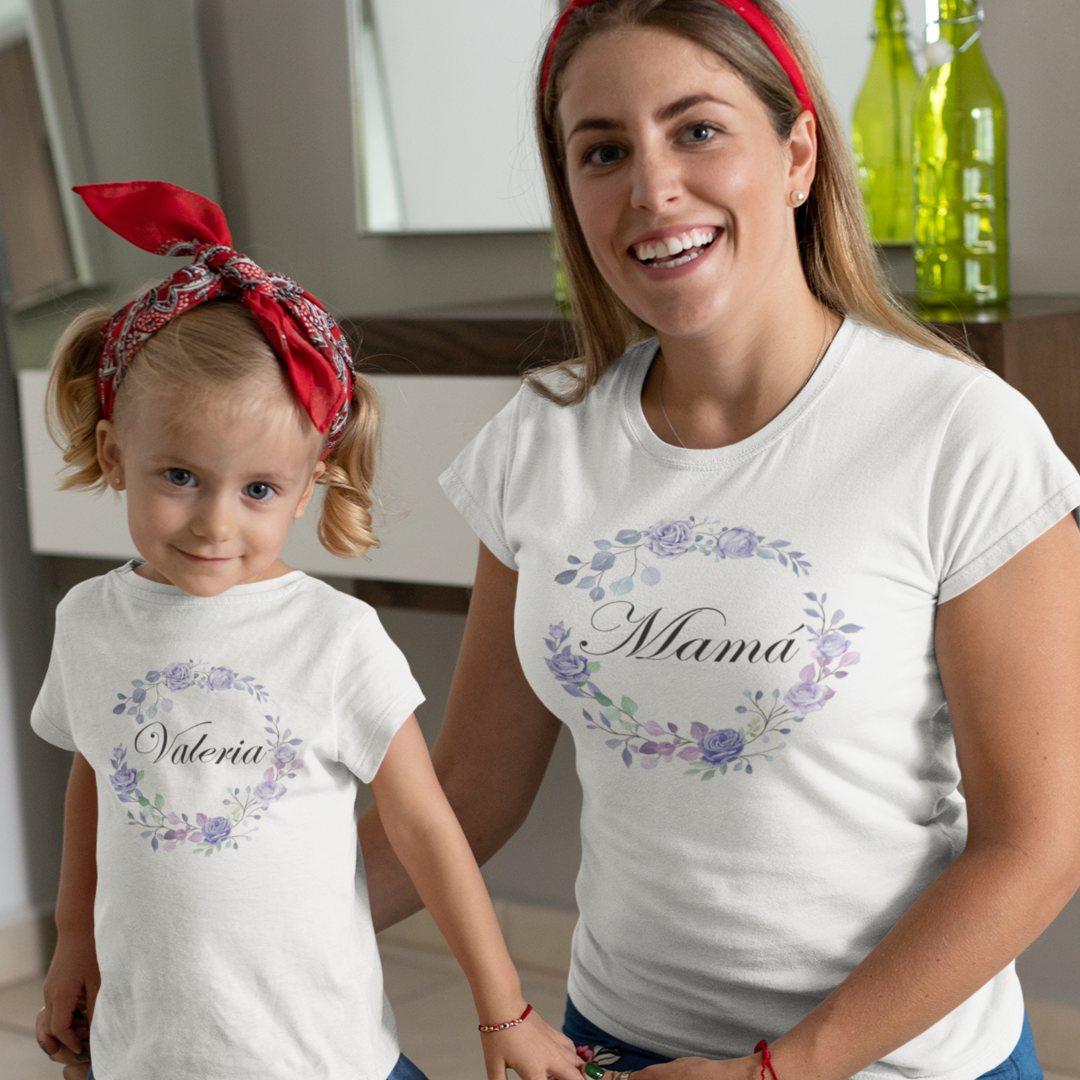 Conjunto camisetas mami niña con flores
