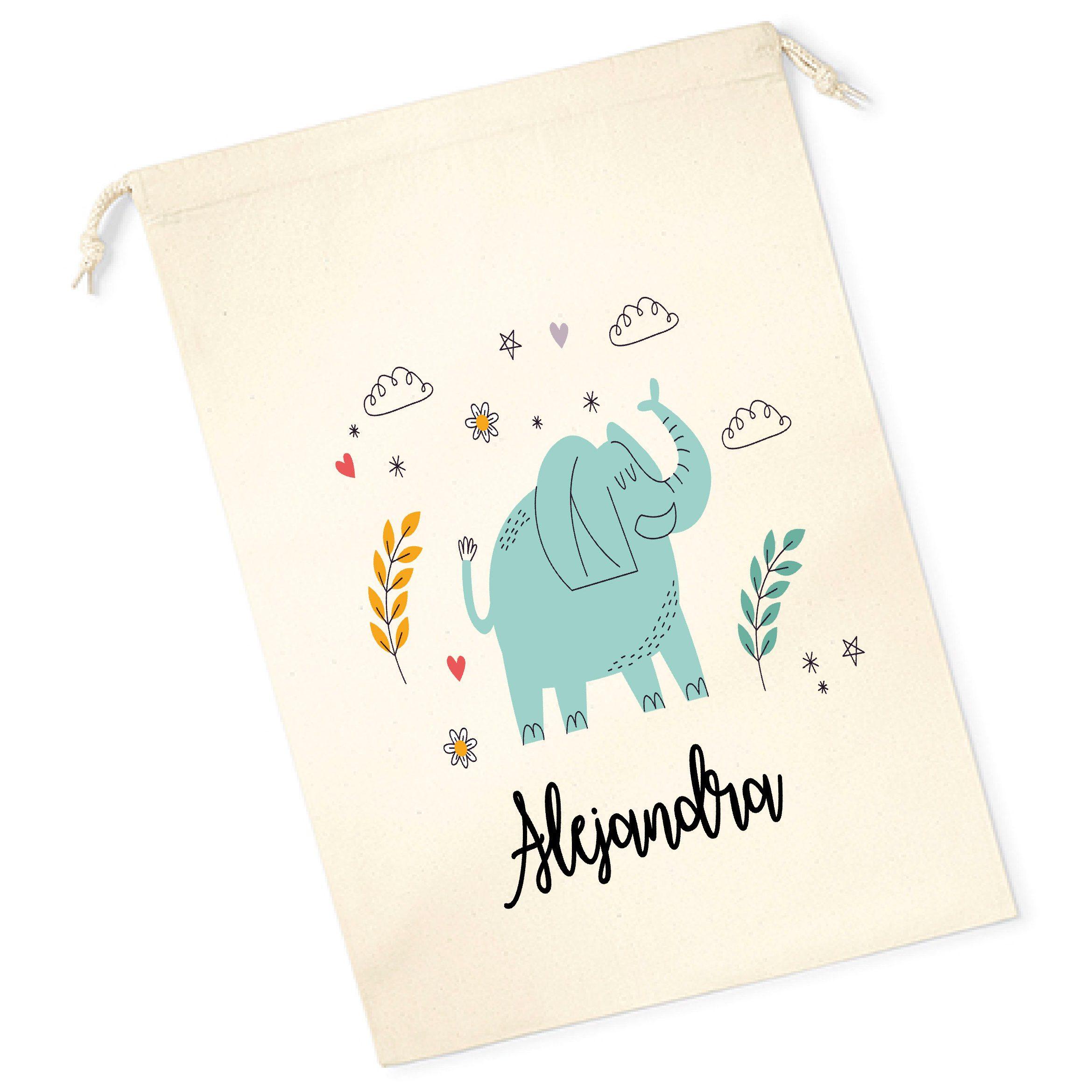 Bolsa merienda personalizada elefante