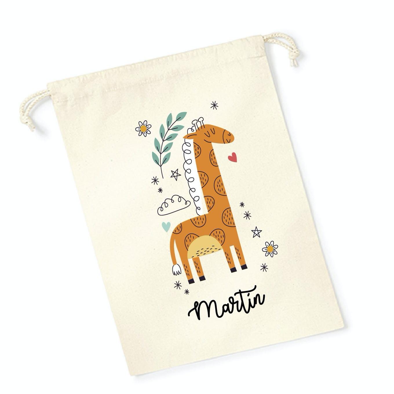 Bolsa merienda personalizada jirafa