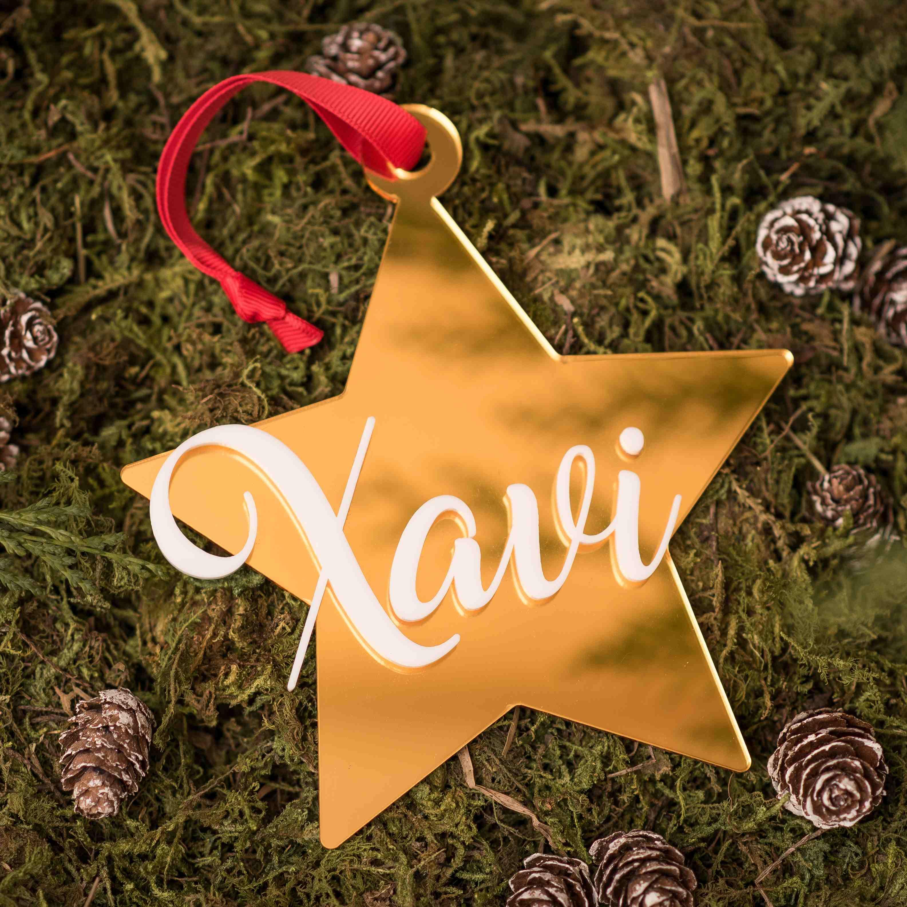 Estrella Navidad personalizada espejo dorado