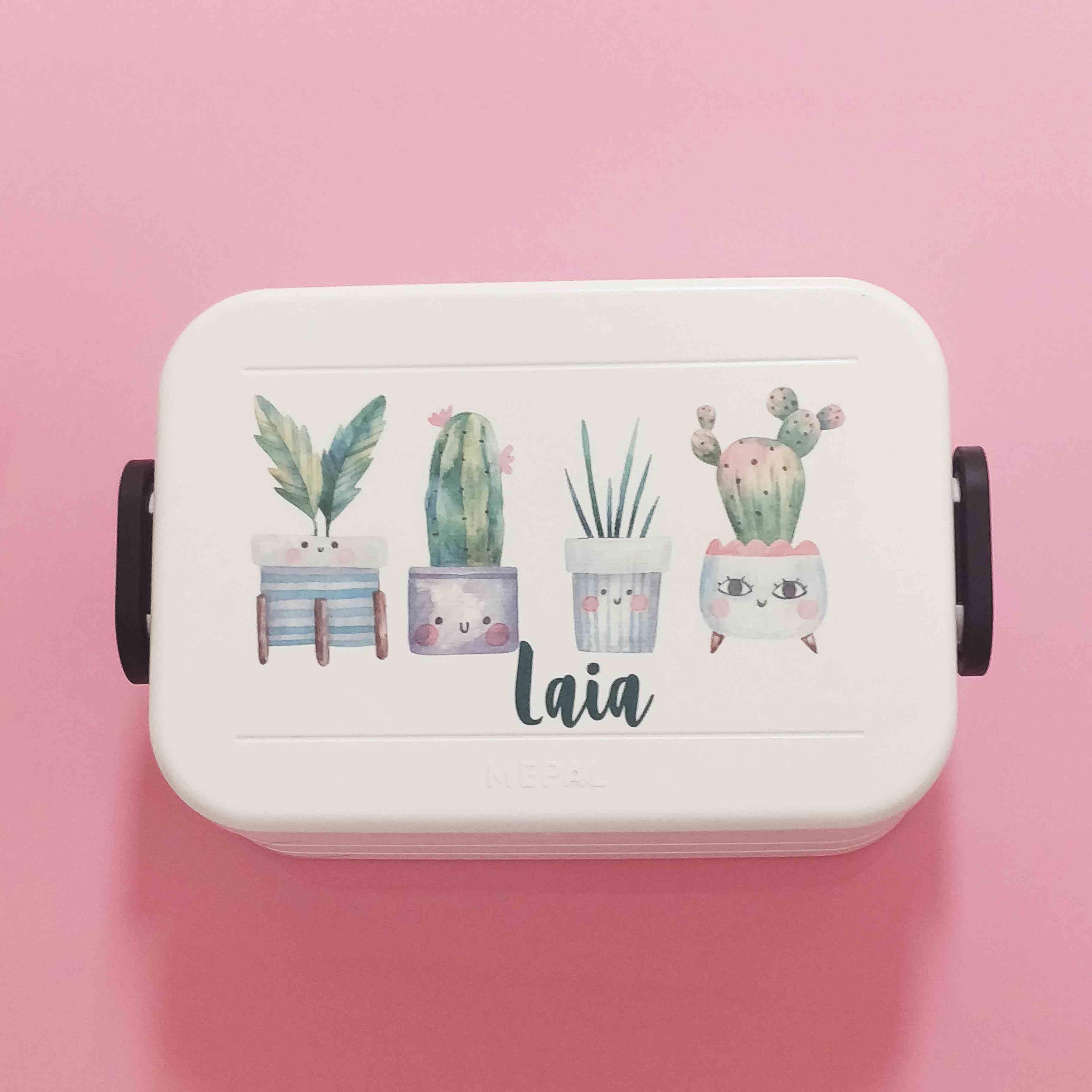 Fiambrera personalizada con nombre cactus