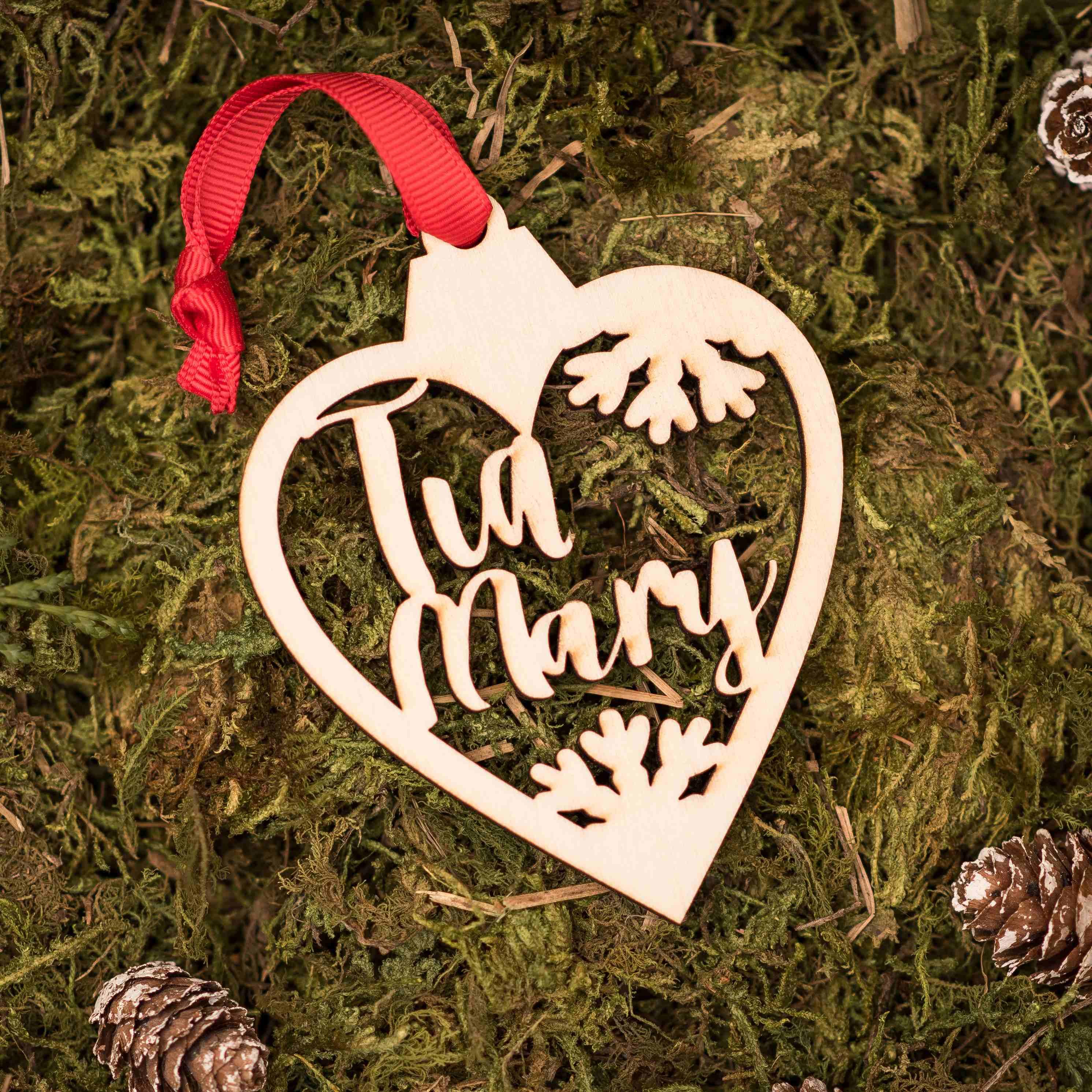 corazon navidad personalizado calado tia
